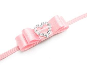 Pink Baby Headband, Rhinestone Heart Headband, Baby Bow Headband, Princess Headband for Baby Girls Pink Infant Headband Satin Bow Baby Bling