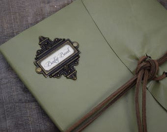 Light moss green Leather Baby Book