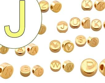 alphabet bead J 7mm gold plated #3863