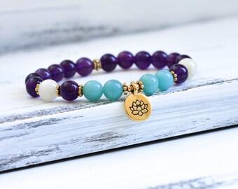 Amethyst Mala Bracelet, Lotus Bracelet, Wrist Mala Beads, Yoga Jewelry, Amazonite, Moonstone - Spiritual, Calming and Healing Energy