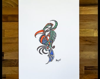 Original Abstract Pen and Ink Drawing on Paper // The Bird // House Warming Gift // Ready to Frame Art