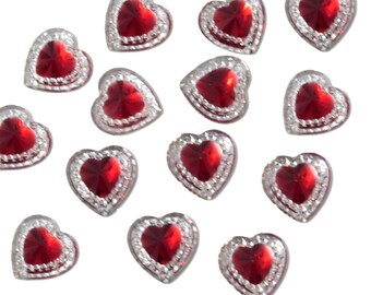 50 Flat Backed Heart Gems Clear With RED Center Diamante Rhinestones Resin Crystals Stick on Gems Embellishments, For Crafts, Invitations