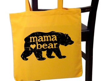 mama bear tote bag, mom tote, screen print canvas tote bag, Christmas gift for her, new mom gift, birthday for mom