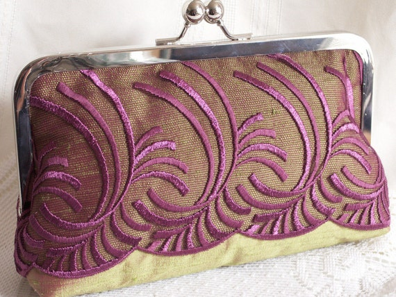 Handmade silk, embroidered tulle overlay clutch handbag, shoulderbag. Purple, lilac, green, chartreuse. KATHERINE by Lella Rae on Etsy