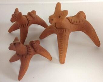 Vintage 70'S Mexican trio of handmade clay horses/donkeys  - Mexican folk art