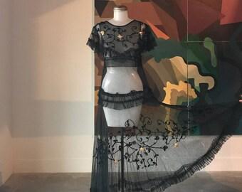S / 1920s MESH Soutache Gown / Mesh Dress