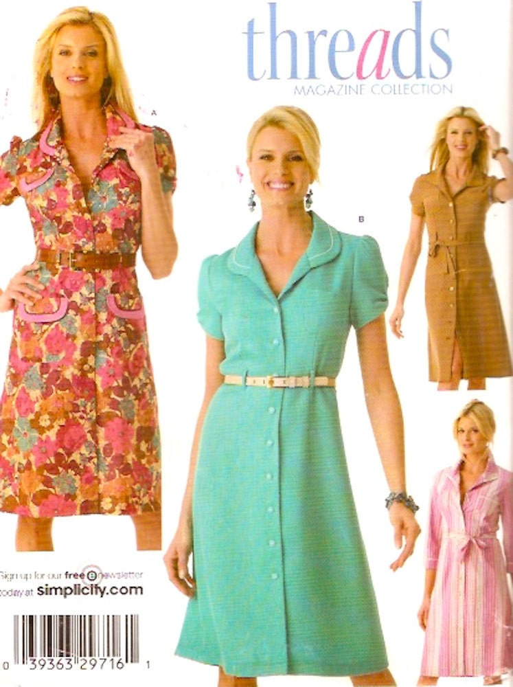 Simplicity 4171 Threads collection dress pattern shirt dress with ...
