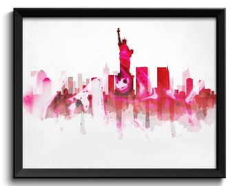 Red Black Grey New York City Skyline New York Skyline USA United States Cityscape Art Print Poster Watercolor Painting