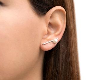 Minimalist ear cuff earrings, bar ear climber earrings, pearl earcuff earrings, silver ear crawlers, hypoallergenic earrings, bar studs