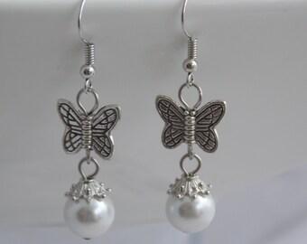 Butterfly and Pearl Tibetan Silver Earrings, Dangle Earrings, Wedding Earrings, Bridesmaid Gifts