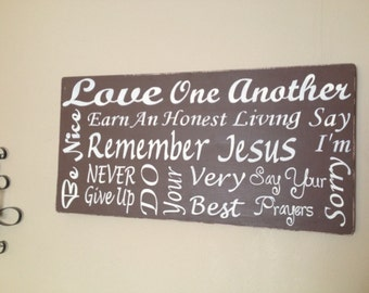 Subway WOOD CANVAS sign, hand painted, Family Rules,horizontal sign, 12 x 24,  with a Distressed Finish