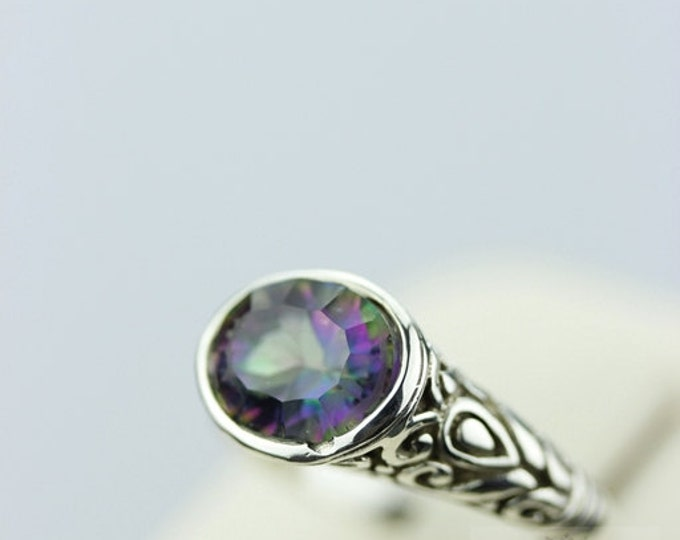 Size 7 FILIGREE VINTAGE MYSTIC Topaz  (Nickel Free) 925 Sterling Silver Ring & Free Worldwide Express Shipping r386