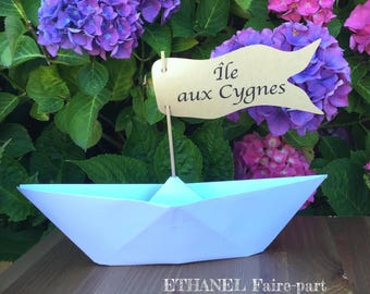 Name of boat origami boat, white wedding table and Kraft, set of 2