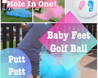 GOLF BALL Baby Feet Gender Reveal Gender Reveal Ideas Golf Ball Reveal Gender Reveal Ball Gender Reveal Party Reveal Ball