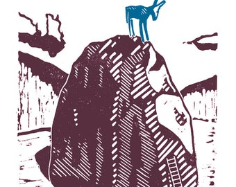 Blue Donkey Regrets The Adventure A3 poster print - from a linocut