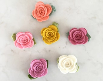 Felt Flower Hair Clip - Pick Your Colors - Wool Felt Rose