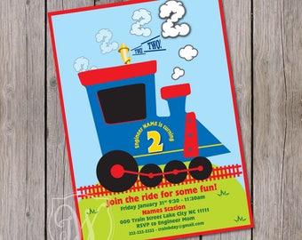 Chugga Chugga two two invitation, Train Birthday invitation Choo Choo birthday invitation