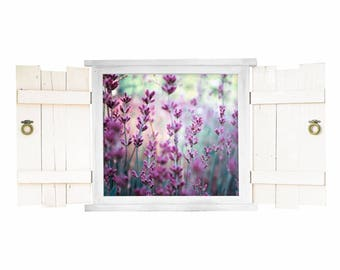 031 Wall Decals Lavender in window with Fensterläde
