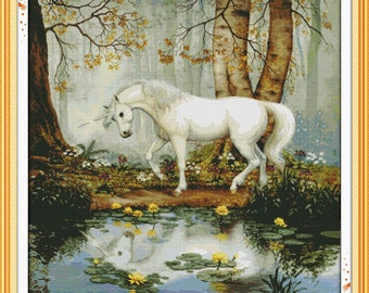 Benway Counted Cross Stitch Unicorn In Forest 14 Count  65x64CM
