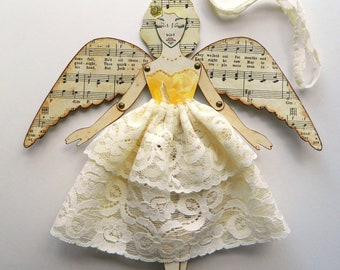 Feenpuppe aus Papier / Engel Papier Puppe / Fee Gliederpuppe / Fee Dekoration / Engel Ornament / Papier Kunst-Puppe / Papier Gliederpuppe / Fee-Dekor