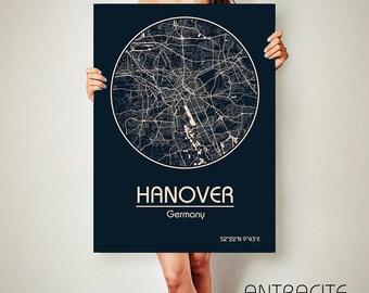 HANOVER Germany CANVAS Map Hanover Germany Poster City Map Hanover Germany Art Print Hanover Germany