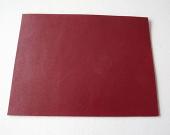 SMOOTH red brown leather 20 x 15 cm