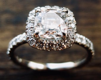 Natural White Sapphire Engagement Ring in Platinum with Diamonds in Halo-Style Setting Size 6