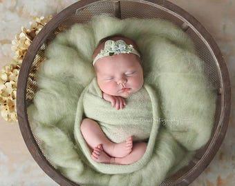 Key Lime Pie Colorblend Fluff - newborn photo prop - sage lime green wool batting - cloud layer - basket stuffer
