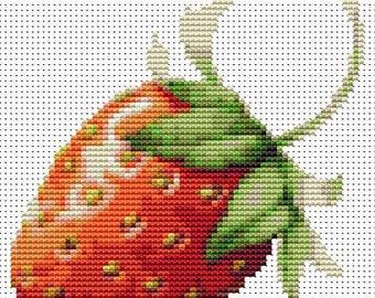Strawberry Cross Stitch Kit, Fruit Cross Stitch, Embroidery Kit, Art Cross Stitch, Fruit Series