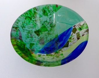 Spring Green and Sky Blue fused glass bowl