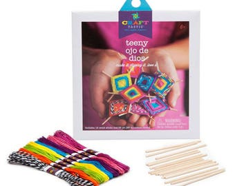 Teeny Ojo De Dios Craft Kit by Craft-tastic®- Asst Colors - Makes 8
