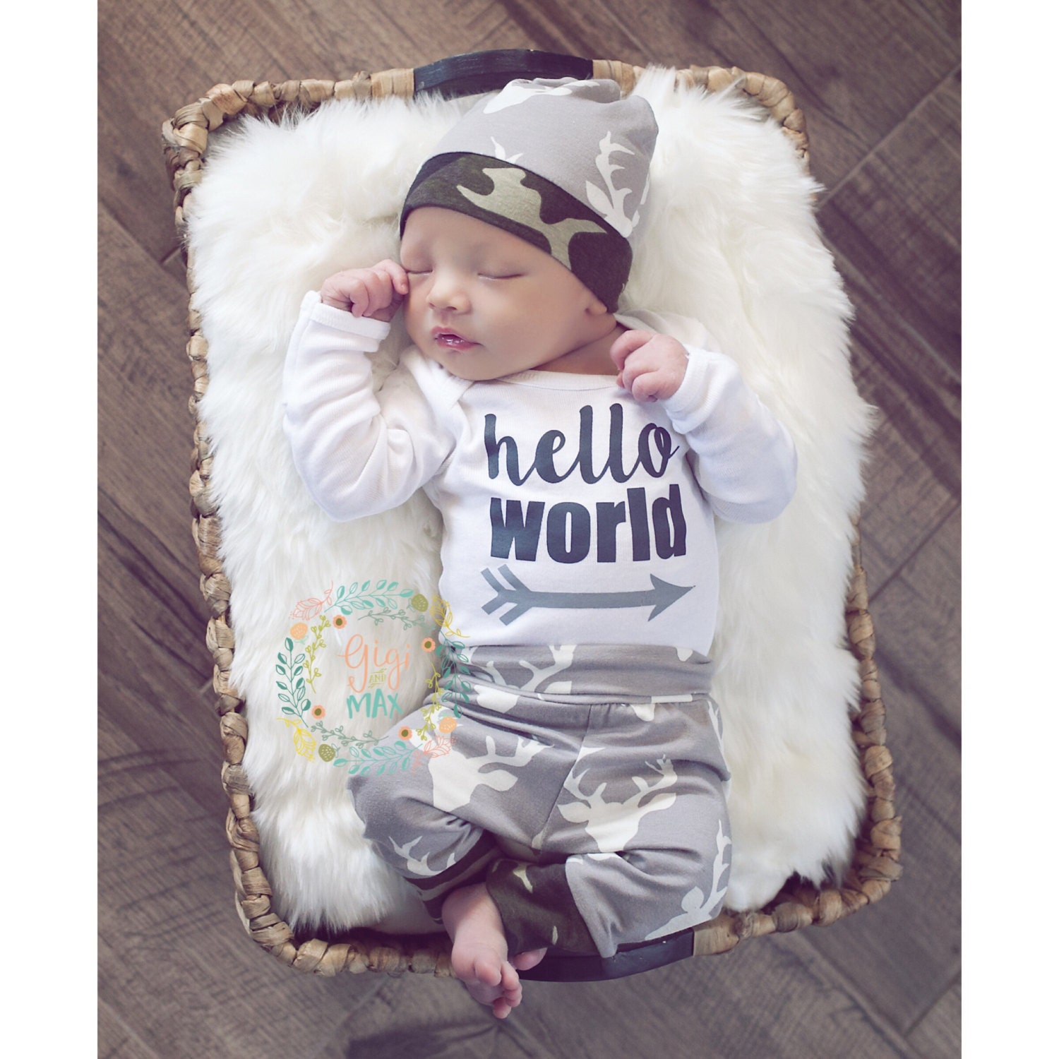 Baby boy READY TO SHIP coming home newborn outfit Deer and