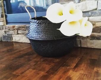 Large Seagrass Basket, Black Panier Boule Storage Tote