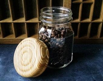 Wooden Mason Jar Lid, Hand Turned Wood Lid and Jar, Ball Jar with Wood Lid, Wood Pantry Jar Lid, Sunset Turnings