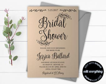 Rustic Bridal Shower Invitation - Country Bridal Shower Invite - Printable Invitation - Rustic wedding shower invite - Instant Download