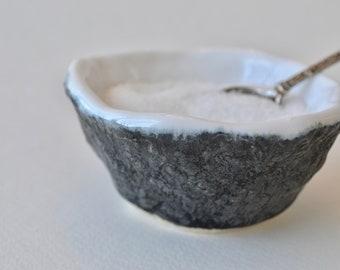 Ceramic Salt Cellar ~ Pottery Salt Cellar ~Pottery Salt Keeper ~ Charcoal Ceramic Bowl ~ Charcoal Ceramic~ Black Ceramic Bowl ~ Black Bowl