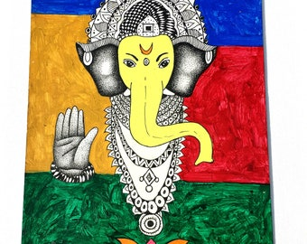 Colourful Ganesha Painting; Handmade, Indian Oil Painting