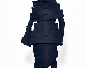 Black Cotton Coat, Winter Coat, Spring Coat, Blue Jacket, Plus Size Coat, Black Womens Jacket, Destructed Coat, Trendy Jacket