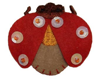 ID 0409 Ladybug Wings Flying Patch Insect Craft Embroidered Iron On Applique