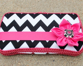 NEW Black Chevron and Hot Pink Boutique Wipe Case