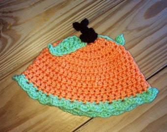Handmade Pumpkin Baby Crochet Hat/ Baby Pumpkin/ Photography Prop/ Newborn or 0-3 months Pumpkin Hat