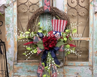 Patriotic Wreath, Fourth of July Wreath, Grapevine Wreath, Labor Day Wreath