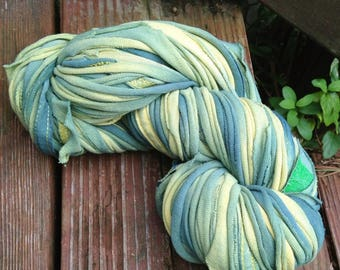13# off - Green Aliens handcut and hand dyed 100% cotton bulky T shirt yarn Tyarn 60 yards