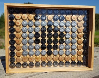 Handmade Wooden Breakfast Tray with Recycled Bottle Caps