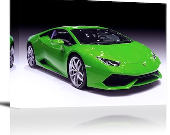 Lamborghini Huracan Sports Car Art Print Wall Decor Image - Canvas Stretched Framed