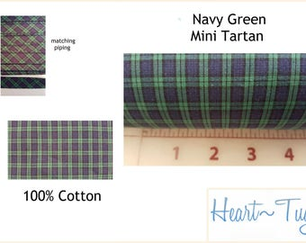 Navy Green Mini Tartan Plaid 58W 100% Cotton Fabric or Piping bty