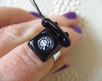 BLACK, Retro, Phone, black with black and white, miniature, fun, adjustable ring, by NewellsJewels on etsy