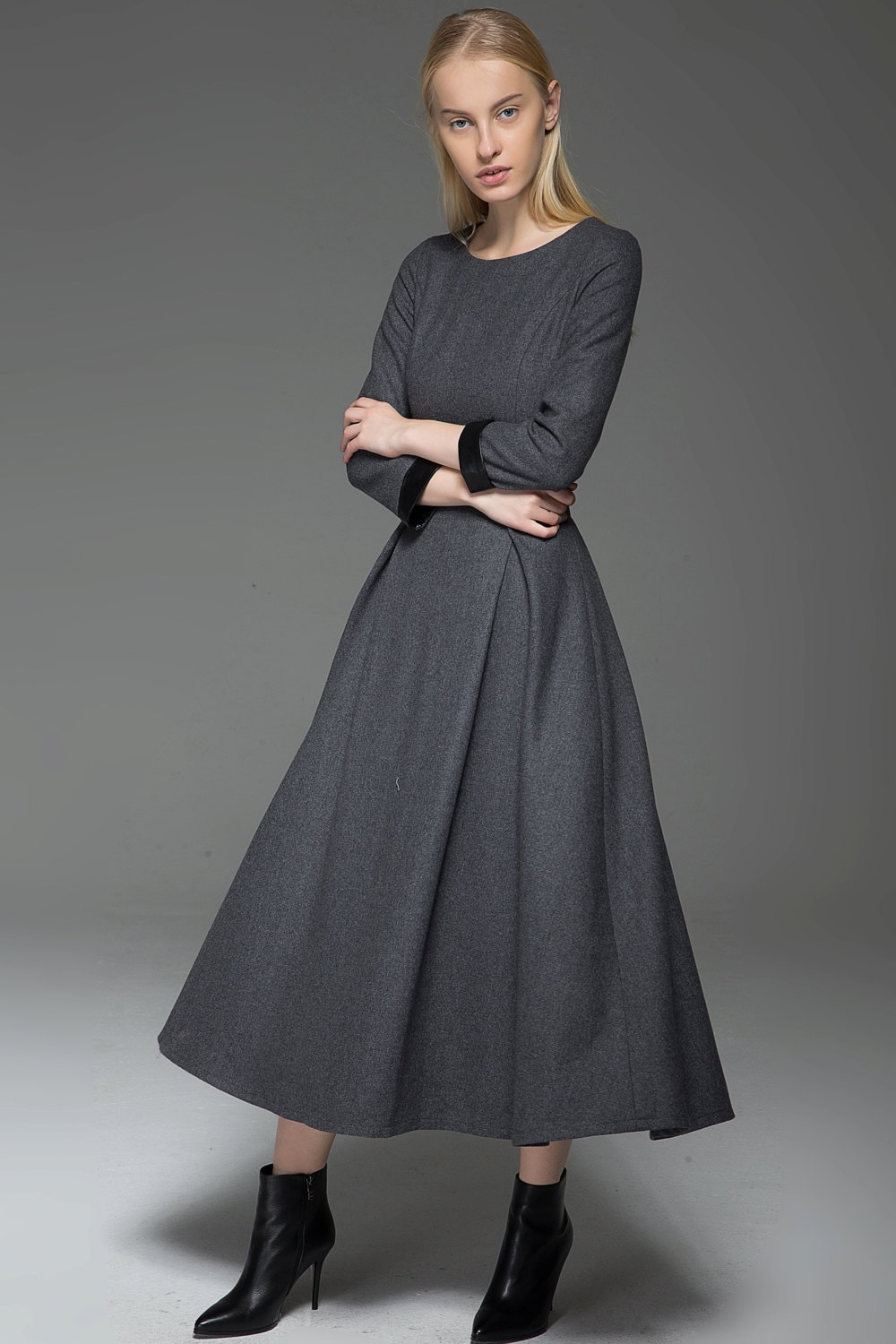 Gray Wool Dress Classic Long Fitted Tailored Warm Winter