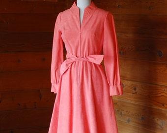 vintage Mollie Parnis pink ultrasuede dress / size small medium
