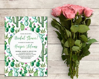 Bridal Shower Invitation, Cactus Bridal Shower, Fiesta Bridal Shower, Cacti, Green Watercolor, Shower, Birthday, Printable No. 1025